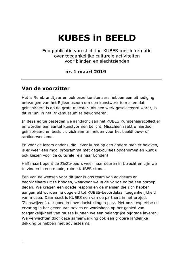 Titelblad van de KUBES in BEELD